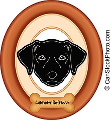 Black Labrador Dog Portrait Frame - Black Labrador Retriever...