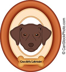 Chocolate Lab Dog Portrait Frame - Chocolate Labrador...