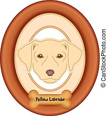 Yellow Labrador Dog Portrait Frame - Yellow Labrador...