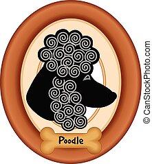 Poodle Dog Portrait, Frame, Bone