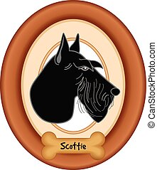 Scottish Terrier Dog Portrait Frame - Scottish Terrier dog...