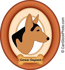 German Shepherd Dog Portrait, Frame - German Shepherd...
