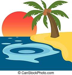 Palm tree on an island