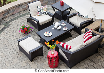 Cozy Patio Furniture on Luxury Outdoor Patio - High Angle...
