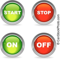 Start and stop on and off buttons isolated on white with...
