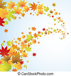 Autumn background with colorful leaves in the sky