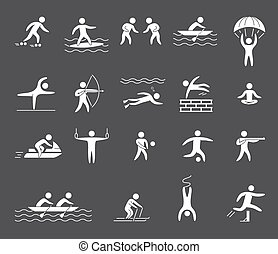 Silhouette figures of athletes popular sports Yoga, surfing,...