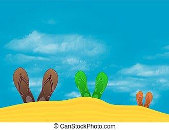 colorful flip flops on beach against sunny sky