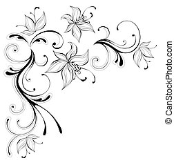 flower pattern - drawing of black flower pattern in a white...