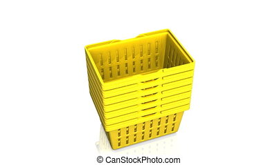 Top Of Yellow Shopping Baskets On White Background