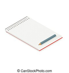 Detailed notebook isometric vector graphic illustration...