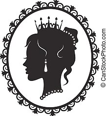 princess silhouette in the frame - profile in the crown...