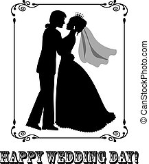 Happy wedding day! - Silhouettes of the bride and groom in a...