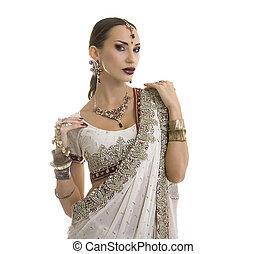 hermoso, indio, mujer, en, tradicional, Sari, ropa, con,...