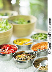 mixed vegetables in salad bar display - mixed cut vegetables...