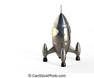 Cartoon Space Rocket - Stylized space rocket launch
