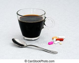 Morning breakfast medication, medicine. Health concept.