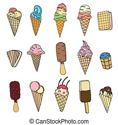 Set of ice cream - Collection of cute vector hand drawn...