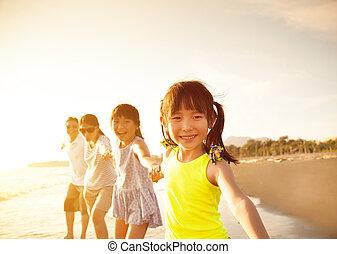 歩くこと, 浜, 家族, 幸せ