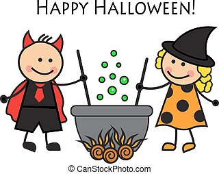 gente,  Halloween, disfraz, caricatura