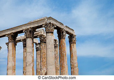 Temple of the Olympian Zeus and the Acropolis in Athens,...