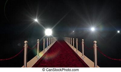 Red carpet with gold barriers, velvet ropes and flashlights...