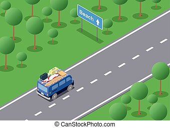 isometric road trip - Vector isometric road trip the van...