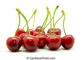cherries against white background