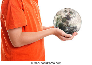 Hands cupping holding our moon - Two hands cupping the moon....