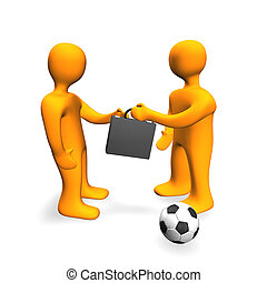 Human Bribe Deal Football 3D - 3d illustration looks...