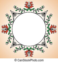 Round frame with Hungarian potter motives - Round frame with...