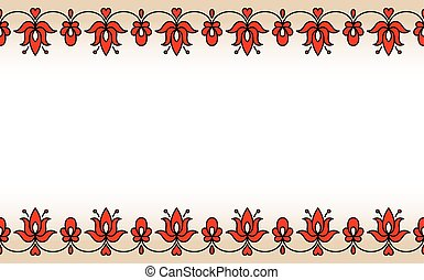Seamless band with red traditional Hungarian floral motives...