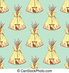 Sketch teepee house in vintage style, vector seamless...