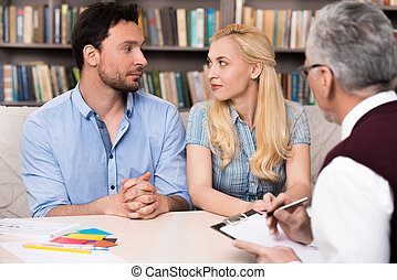 Concept for consultation with psychologist - Young couple...