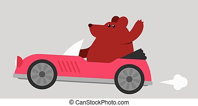 Bear driving a sports car - Cartoon illustration of a cute...