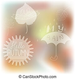 Vector set of autumn themed design elements,leaves and...