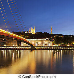 View of Saone river at late sunset in Lyon city