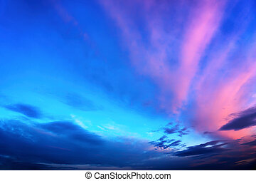 Twilight sky in deep blue and pink - Twilight sky background...