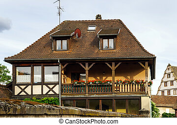 Typical alsacien house in small village, Bas-Rhin, France....