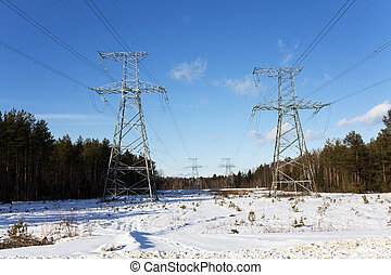 power lines - the photographed power lines. winter season...