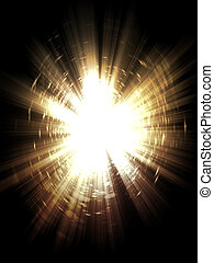 Yellow Burst - Bright yellow light burst, explosion on dark...