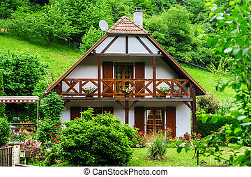 Typical alsacien house in small village, Bas-Rhin, France...