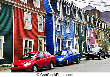 Colorful houses in St Johns, Newfoundland, Canada