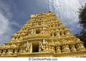 ornate temple mysore - an ornate temple in the grounds of...