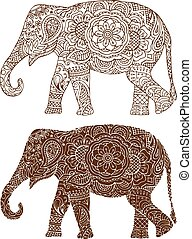 Indian elephant patterns - silhouette of a elephant in the...