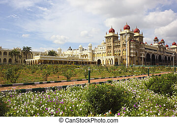 royal palace mysore - a view across the gardens to the royal...