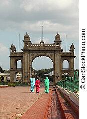 palace gateway mysore - a decorative palace gateway in...