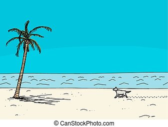 Dog Walking Alone on Beach - Dog walking on sand in tropical...