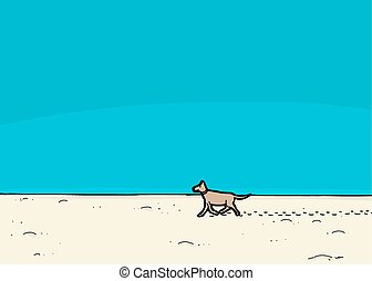 Dog Walking on Beach - Cartoon dog walking on sand under...