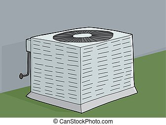 Central Air Conditioner - Cartoon air conditioner unit with...